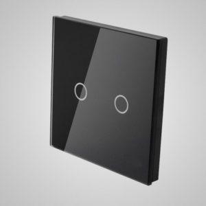Suur klaaspaneel lülitile, kaks ahelat, Must, 86*86mm