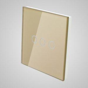 Suur klaaspaneel lülitile, kolm ahelat, Kuldne, 86*86mm