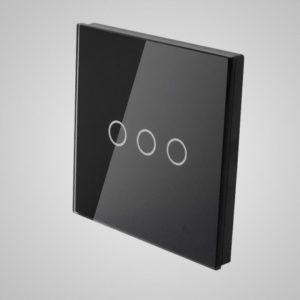 Suur klaaspaneel lülitile, kolm ahelat, Must, 86*86mm