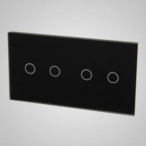 Suur klaaspaneel lülititele, 2+2, Must, 157*86mm