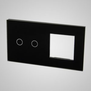 Glass panel for switches, 2 + frame, Black, 157*86mm