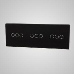 Klaaspaneel lülititele, 3+3+3, Must, 228*86mm