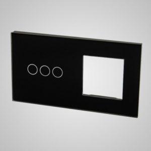 Suur klaaspaneel lülititele, 3+raam, Must, 157*86mm