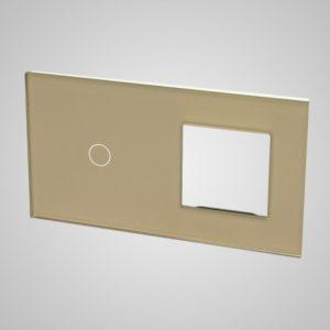 Suur klaaspaneel lülititele, 1+raam, Kuldne, 157*86mm