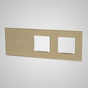 Suur klaaspaneel lülititele, 1+2xRAAM, kuldne, 86*228mm