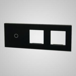 Suur klaaspaneel lülititele, 1+2xRAAM, Must, 228*86mm