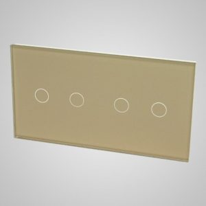 Glass panel for switches, 2+2, Golden, 157*86mm