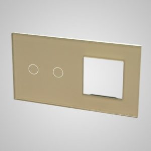 Glass panel for switches, 2+frame, Golden, 157*86mm