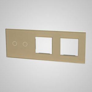 Glass panel for switches, 2+2Xframe, Golden, 228*86mm