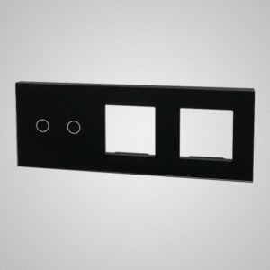 Glass panel for switches, 2+2Xframe, 228*86mm