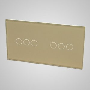 Glass panel for switches, 3+3, Golden, 157*86mm