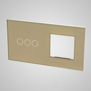 Glass panel for switches, 3+frame, Golden, 157*86mm