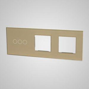 Suur klaaspaneel lülititele, 3+2xRAAM, kuldne, 228*86mm