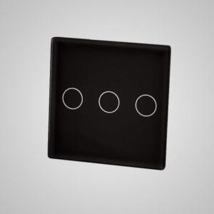 Väike klaaspaneel, kolm ahelat (Klaas- ja alumiiniumraamiga lülitile), MUST, 47*47mm