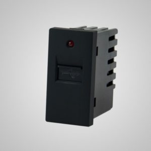 USB laadija-pesa, 220VAC 1A, must, 1/2