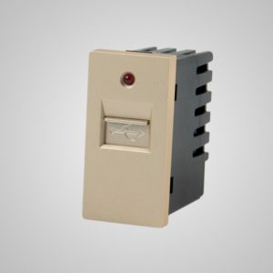 USB laadija-pesa, 220VAC 1A, kuldne, 1/2