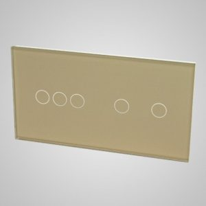 Glass panel for switches, 3+2, Golden, 157*86mm