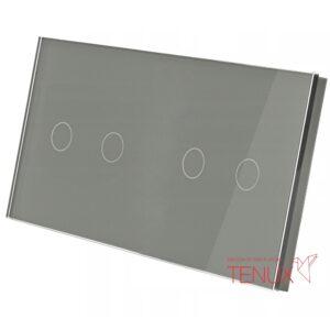 Suur klaaspaneel lülititele, 2+2, Hall, 157*86mm